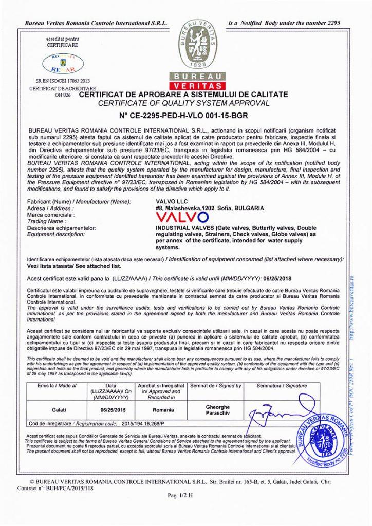 Certificates Valvo
